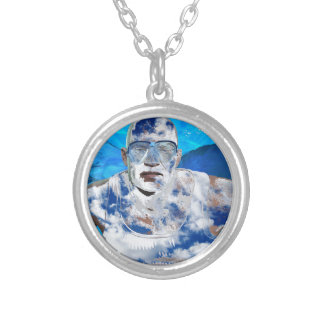 Swimming angel silver plated necklace