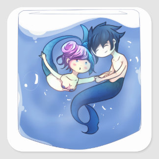 Swimming around square sticker