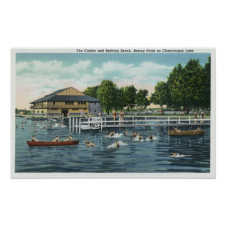 Swimming at Bemus Point Beach and Casino Poster