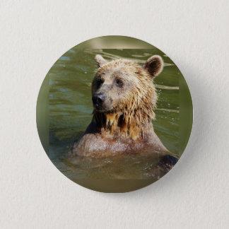 swimming bear 6 cm round badge