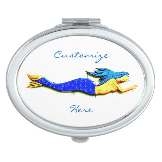 swimming blue-haired mermaid mirrors for makeup