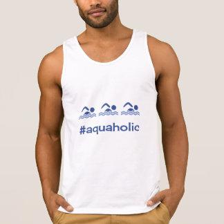 Swimming blue hashtag aquaholic singlet