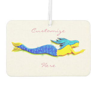 swimming blue-tail mermaids white car air freshener