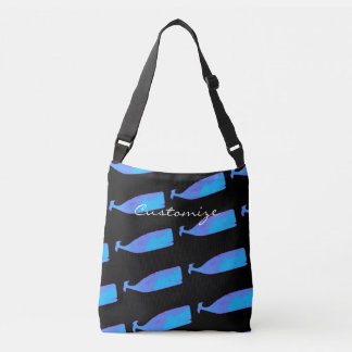 swimming blue whales black crossbody bag