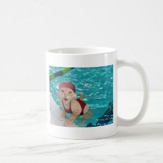 swimming cat coffee mug