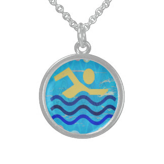 Swimming Champion Sterling Silver Round Necklace