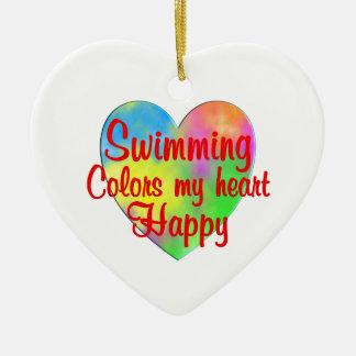 Swimming Colors My Heart Happy Ceramic Heart Decoration