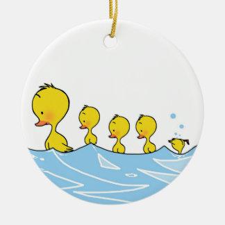 Swimming duck family ceramic ornament