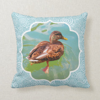 Swimming Duck with Swirl Teal Border Pillow