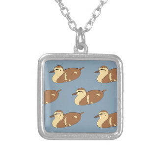 Swimming Ducks Silver Plated Necklace