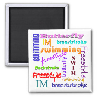 Swimming Everywhere Square Magnet