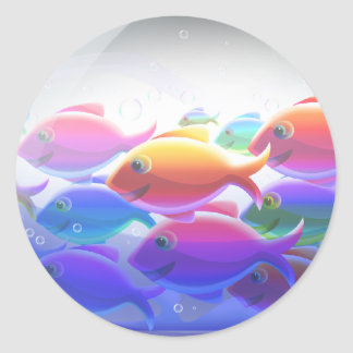 Swimming Fish Round Sticker