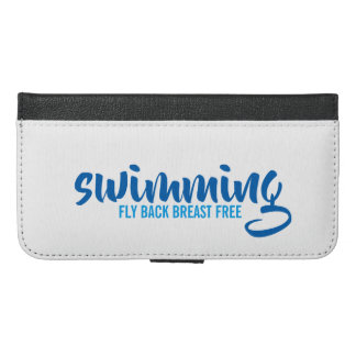Swimming Fly Back Breast Free Typographic Text iPhone 6/6s Plus Wallet Case