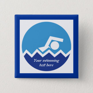 Swimming gifts, swimmer on a blue circle custom 15 cm square badge