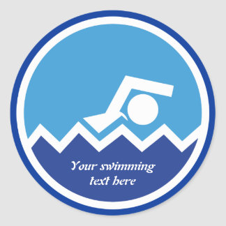 Swimming gifts, swimmer on a blue circle custom classic round sticker
