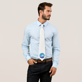 Swimming gifts swimmer on a blue circle custom tie