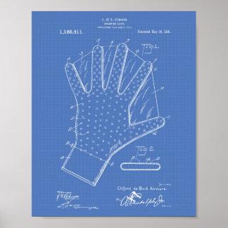 Swimming Glove 1916 Patent Art Blueprint Poster