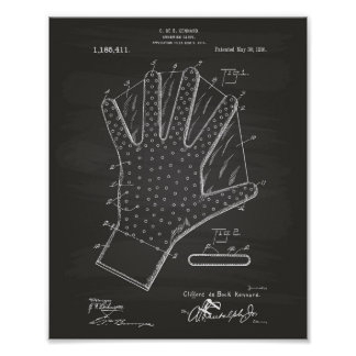 Swimming Glove 1916 Patent Art Chalkboard Poster