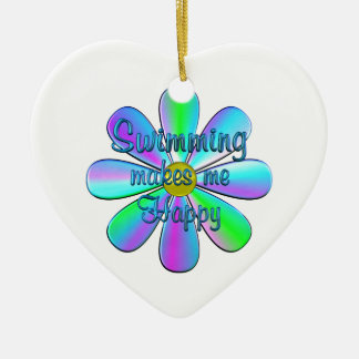 Swimming Happy Ceramic Heart Decoration
