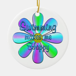 Swimming Happy Round Ceramic Decoration