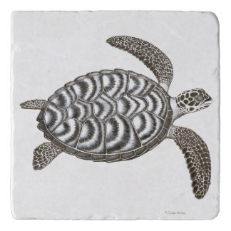 Swimming Hawksbill Sea Turtle Stone Trivet