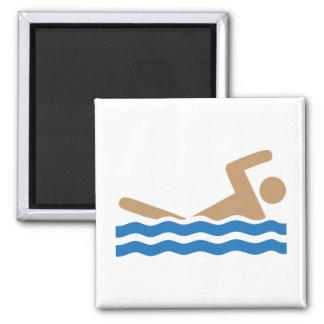 Swimming icon pictograph in color square magnet