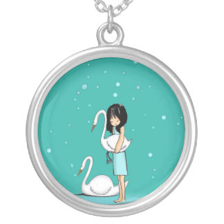 swimming in the sand silver plated necklace