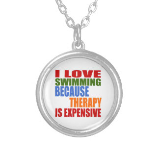 Swimming Is My Therapy Silver Plated Necklace