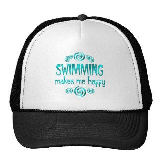 Swimming Makes Me Happy Mesh Hats