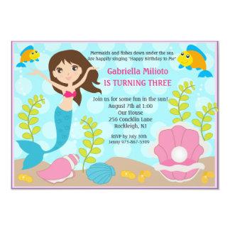Swimming Mermaid Girl's Birthday Invite