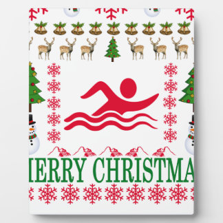 SWIMMING MERRY CHRISTMAS . PLAQUE