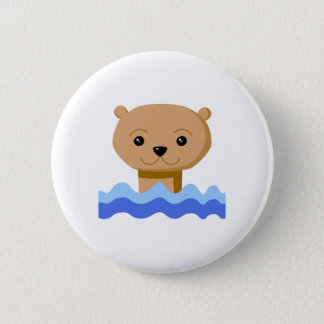 Swimming Otter. 6 Cm Round Badge
