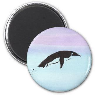 Swimming Penguin 6 Cm Round Magnet