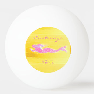 swimming pink mermaid ping pong ball