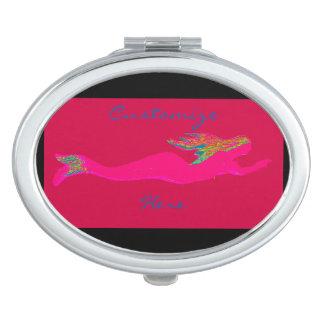 swimming pink mermaid red/black vanity mirrors