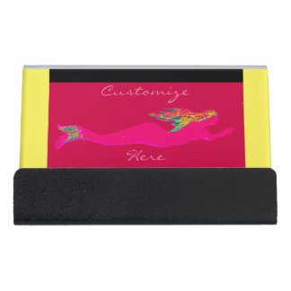 swimming pink mermaid red desk business card holder