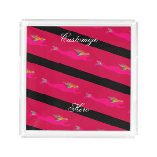 swimming pink mermaids striped acrylic tray