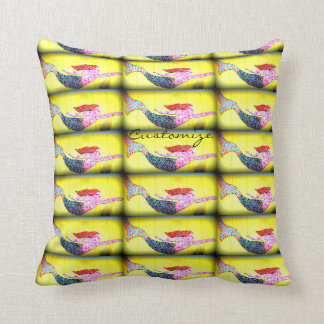 swimming pink mermaids Thunder_Cove yellow Cushion