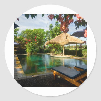 Swimming pool in a tropical resort stickers