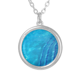 Swimming pool silver plated necklace