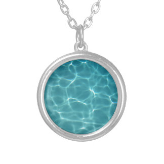 Swimming Pool Water Silver Plated Necklace