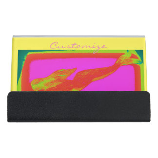 swimming red mermaid desk business card holder
