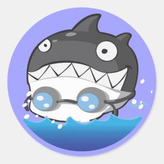 Swimming Round Sticker