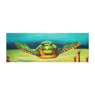 Swimming sea turtle- canvas
