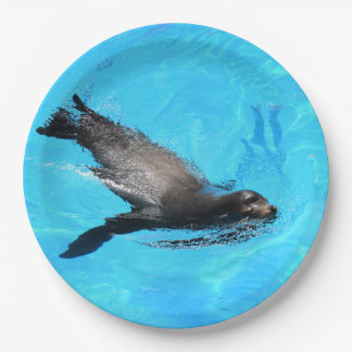 Swimming Seal Paper Plate