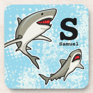 Swimming Sharks, Add Child's Name and Monogram Drink Coasters