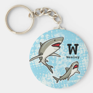 Swimming Sharks, Add Child's Name and Monogram Key Ring