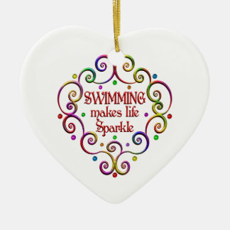Swimming Sparkles Ceramic Heart Decoration