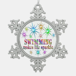 Swimming Sparkles Pewter Snowflake Decoration