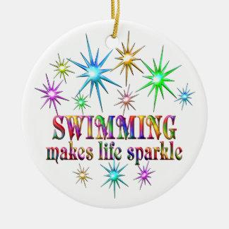 Swimming Sparkles Round Ceramic Decoration